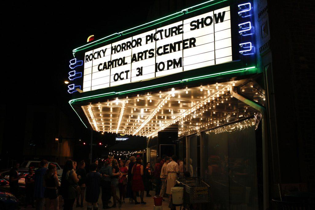 Audience members line the streets of Bowling Green, for the annual live performance of the cult classic, The Rocky Horror Picture Show on Oct. 31. Photo by Mhari Shaw.