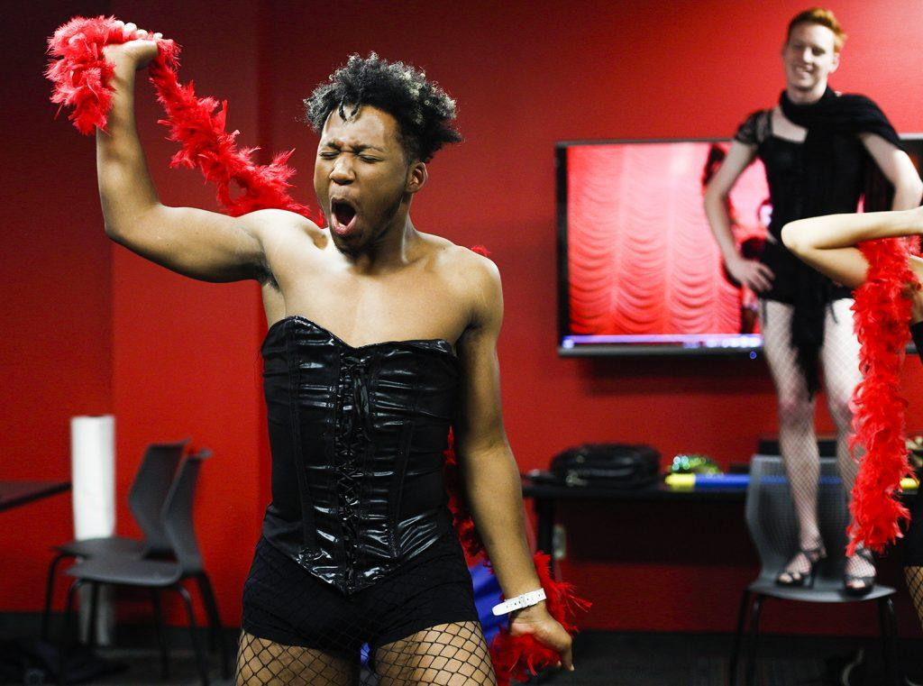 McClure practices the final dance of the film Rocky Horror Picture Show. This was McClure's first time performing in this show He played the role of Brad Majors. Photo by Mhari Shaw.