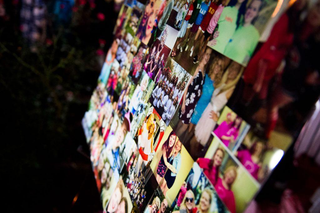 Photos of Stephanie Campbell are displayed during a vigil in front of the Alpha Gamma Delta house. Campbell died in a single car accident. (Talisman/Michael Noble Jr.)