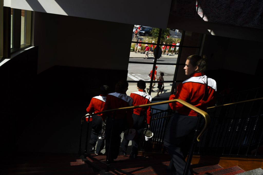 Members of the WKU marching band file out of Downing Student Union before Western Kentucky University took on Vanderbilt on Saturday, Sept. 24, 2016.
