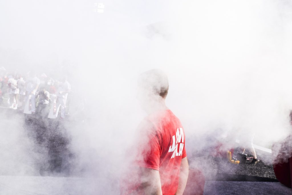 A pyrotechnics expert looks on before the WKU Hilltoppers enter the LT Houchens-Smith Stadium before taking on Vanderbilt on Saturday, Sept. 24, 2016.
