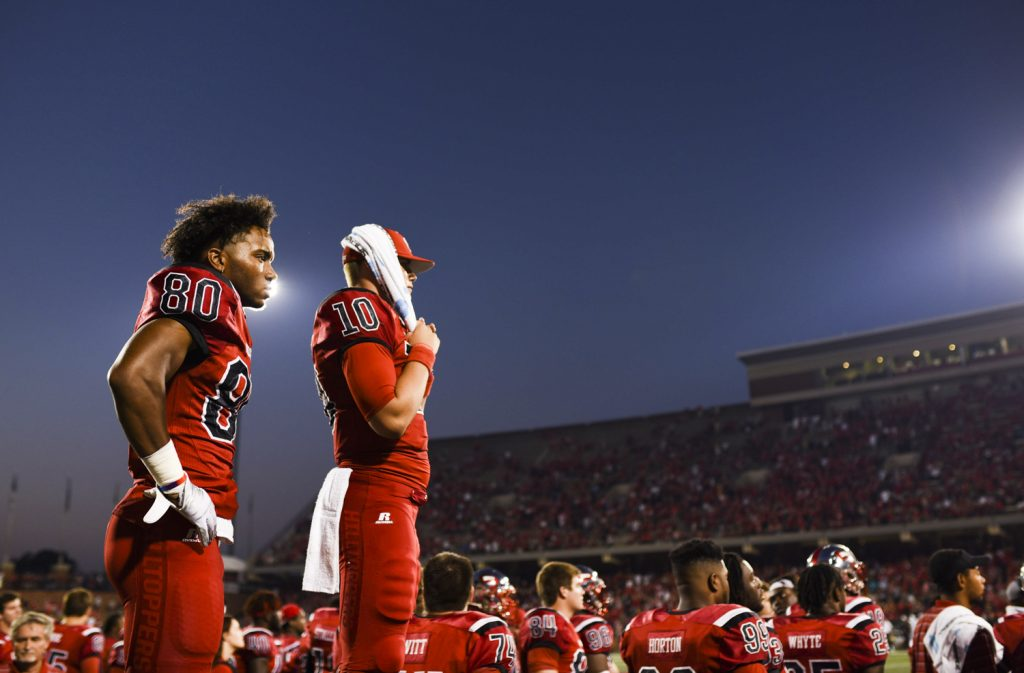 WKU players watch in dismay as they give up their 7-point lead in the final minutes of their game against Vanderbilt to go to overtime on Saturday, Sept. 24, 2016.