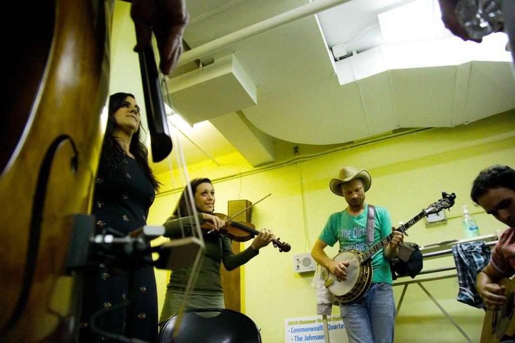 The Carmonas, a band native to Bowling Green, practices backstage before the start of the first Live Lost River Music Session at the Capitol Arts Center on September 15th, 2016. This Lost River Music Session hosted a variety of folk-genres for a packed crowd, such as Bluegrass and Americana.