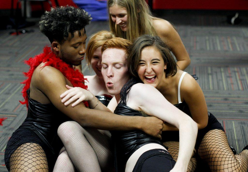 The cast of the Rocky Horror Picture Show rehearse the orgy scene during the first dress rehearsal. The cast members met in DSU twice a week to rehearse. Photo by Mhari Shaw.