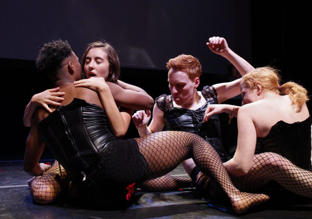 The cast members perform the orgy scene hours before the final performance. The show was known for it's risky content and cult following. Photo by Mhari Shaw.
