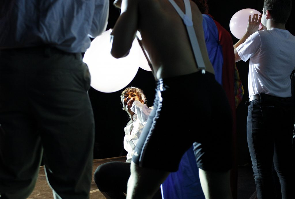 Bryant assists in the pre-show act. The pre-show consisted of sexual games where the audience members were pulled up on stage. Photo by Mhari Shaw.