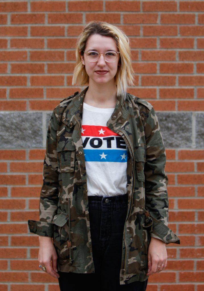 """After waiting in line for 30 minute at the Big Red precinct, Henderson, Ky. senior Jenna Sauer, 21, is unable to vote on Tuesday, Nov. 8, 2016 due to a recently renewed license. """"I'm like the most politically passionate person so it's really aggravating,"""" Sauer said. """"I'm extremely mad. There was girl before me that got turned away because of that too."""" Photo by Kathryn Ziesig."""